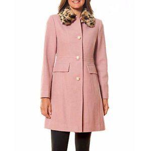 Kate Spade leopard Faux Fur-Collar Wool Coat pink